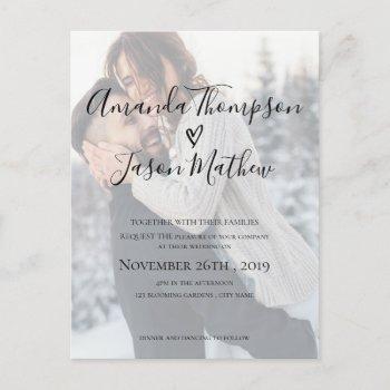 faux vellum effect photo  wedding invitation