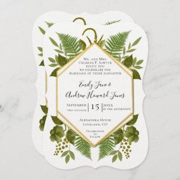 ferns and fauna white & greenery wedding invitation