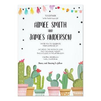 fiesta cactus succulent mexican wedding invitation