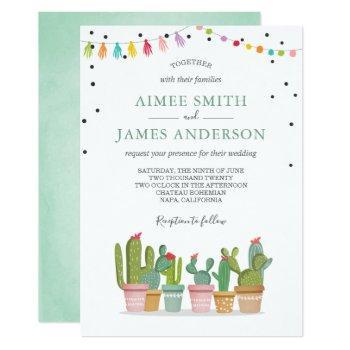 fiesta cactus succulent watercolor pastel wedding invitation
