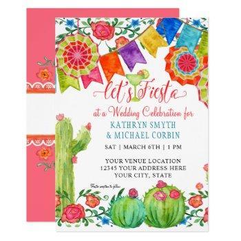fiesta margarita colorful floral cactus wedding invitation