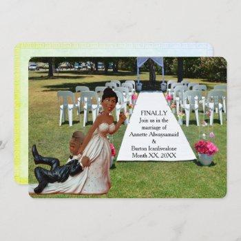 finally getting wed funny african american couple invitation