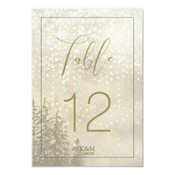 fir trees winter table numbers gold id543