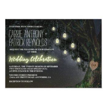 firefly mason jar oak tree wedding invitations