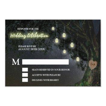 firefly mason jar oak tree wedding rsvp cards