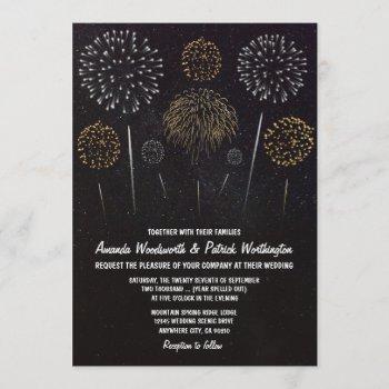 fireworks themed black gold wedding invitations