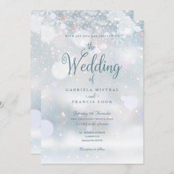 first winter snowflakes elegant script wedding invitation