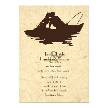 fishing lovers brown boat wedding invitation