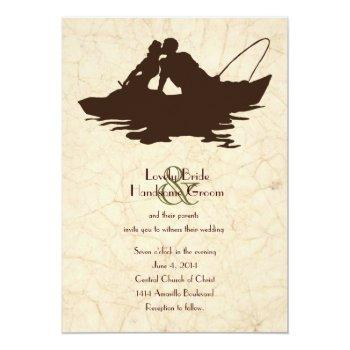 Small Fishing Lovers Brown Boat Wedding Invitation Front View