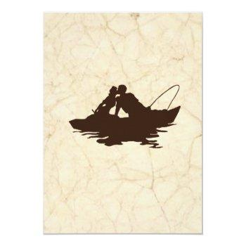 Small Fishing Lovers Brown Boat Wedding Invitation Back View