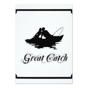 Small Fishing Lovers Great Catch Wedding Invitation Back View