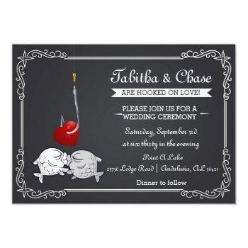 Small Fishing Wedding Invitation - Kissing Fish Front View