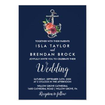 Small Floral Anchor | Navy Autumn Wedding Invitation Front View