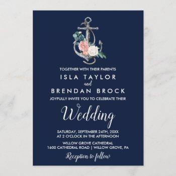 floral anchor | navy summer wedding invitation