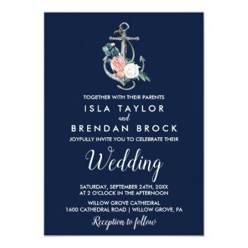 floral anchor | navy summer wedding invitation