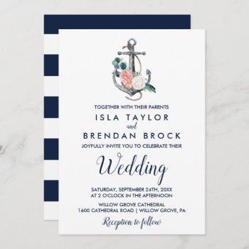 floral anchor | summer wedding invitation