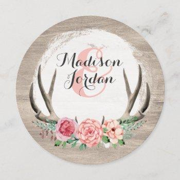 floral antlers rustic wedding personalized casual invitation