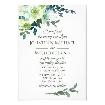 floral blue white gold turquoise christian wedding invitation