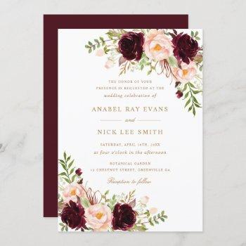 floral burgundy blush modern elegant wedding invitation
