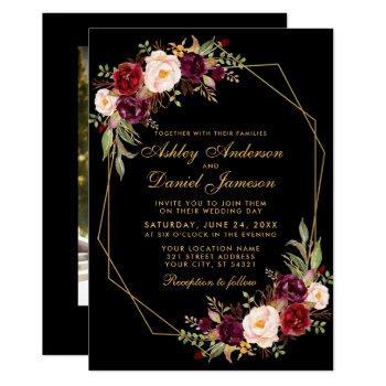 floral burgundy geometric black gold photo wedding invitation