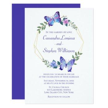 floral butterfly wedding navy blue butterflies invitation