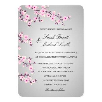 floral cherry blossoms pink gray wedding invitation