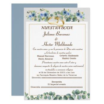 floral cyan blue nuestra boda invitation
