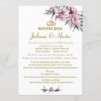 floral dusty pink nuestra boda invitation