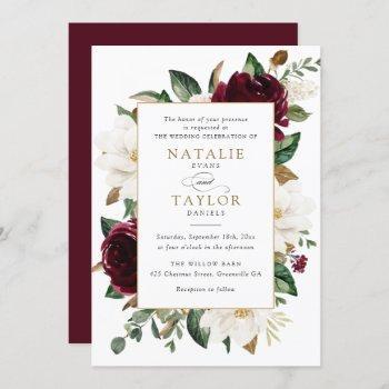 floral elegant burgundy magnolia greenery frame invitation