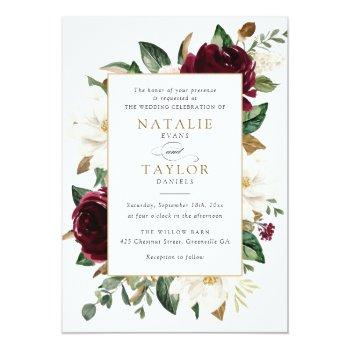 Small Floral Elegant Burgundy Magnolia Greenery Frame Invitation Front View