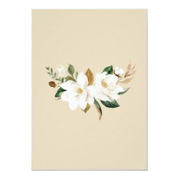 Small Floral Elegant Magnolia Beige Neutral Wedding Invitation Back View