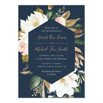 Small Floral Elegant Magnolia Blush Navy Neutral Wedding Invitation Front View