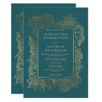 floral gold teal green elegant chic modern wedding invitation