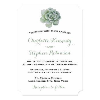 floral green succulent cactus wedding invitation