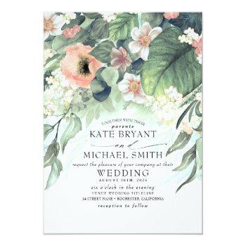 Small Floral Greenery Summer Garden Romantic Wedding Invitation Front View