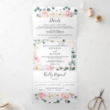 floral greenery wedding tri-fold invitations