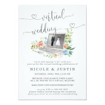 Small Floral Laptop | Virtual Wedding Invitation Front View
