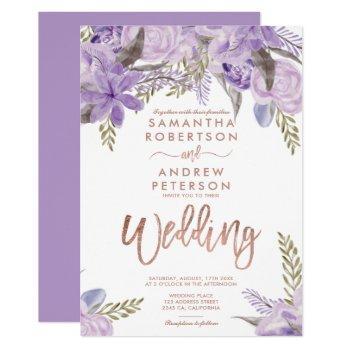 floral lavender purple watercolor rose wedding invitation