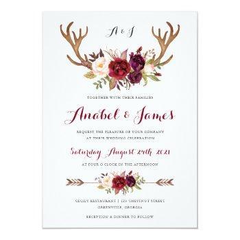 Small Floral Marsala Antler Boho Wedding Invitation Front View