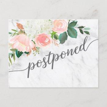 floral postponed wedding announcement postcard