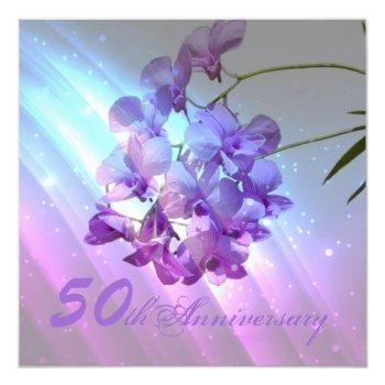 floral purple orchid 50th wedding anniversary invitation