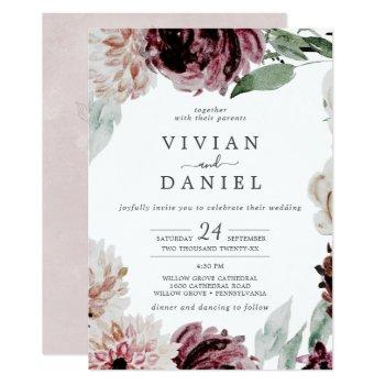 floral romance all in one wedding invitation