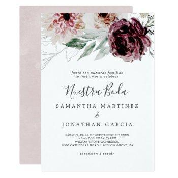 floral romance spanish nuestra boda invitation