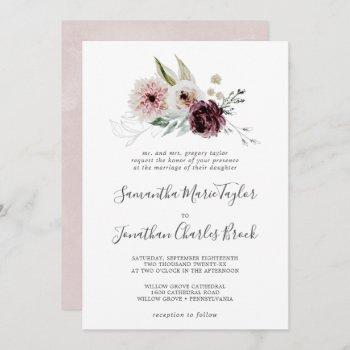floral romance traditional wedding invitation