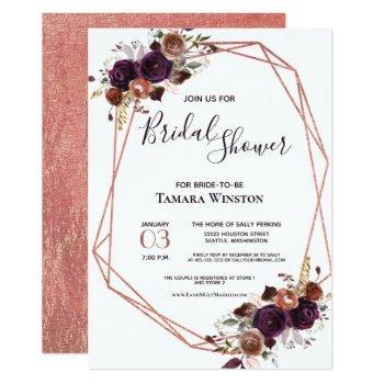 floral rose gold purple geometric bridal shower invitation