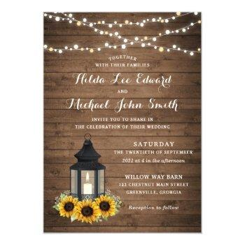 floral rustic sunflower wood lantern string lights invitation