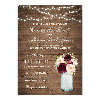 Small Floral Rustic Wood Blush Burgundy Mason Jar Invitation Front View