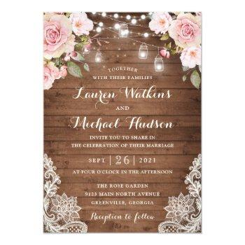 floral rustic wood blush roses string lights invitation