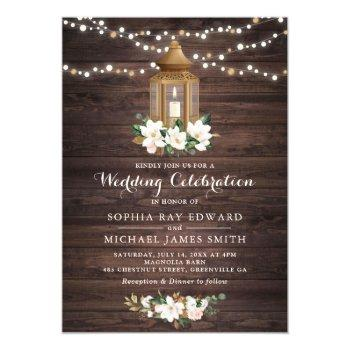 floral rustic wood lantern magnolia string lights invitation