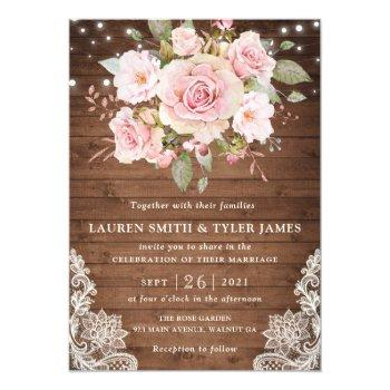 floral rustic wood roses string light lace wedding invitation